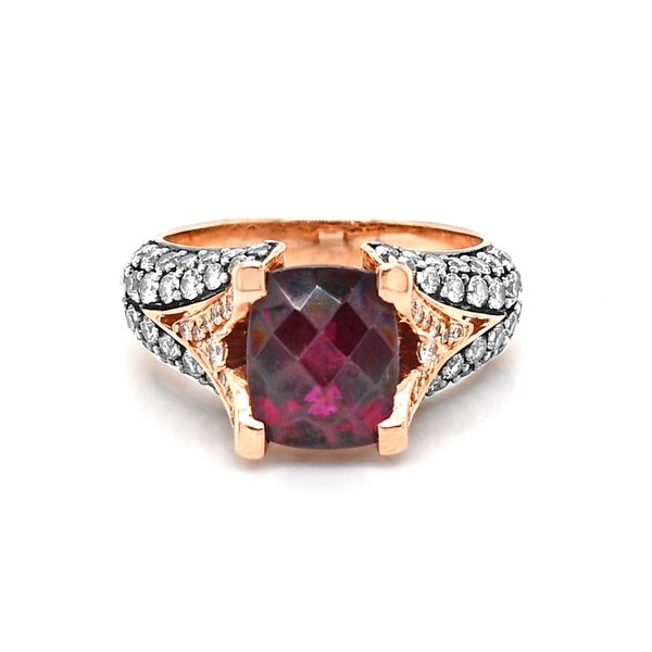 Le Vian Raspberry Rhodolite Garnet with Choclate and Vanilla Diamonds Ring 14k Rose Gold Raleigh Diamond Raleigh, NC