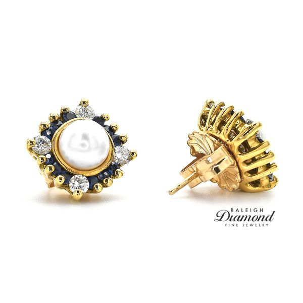 Pearl Stud Earrings with 14K Yellow Gold Diamond and Sapphire Earring Jackets Image 2 Raleigh Diamond Raleigh, NC