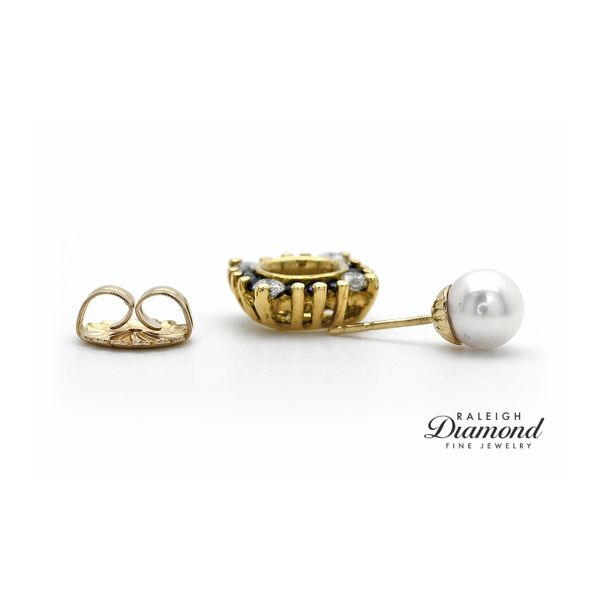 Pearl Stud Earrings with 14K Yellow Gold Diamond and Sapphire Earring Jackets Image 3 Raleigh Diamond Raleigh, NC