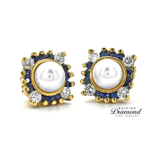Pearl Stud Earrings with 14K Yellow Gold Diamond and Sapphire Earring Jackets Raleigh Diamond Raleigh, NC