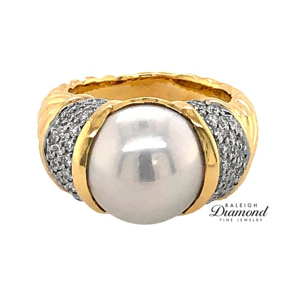 David Yurman Pearl and Diamond Ring in 18k Yellow Gold Image 2 Raleigh Diamond Raleigh, NC
