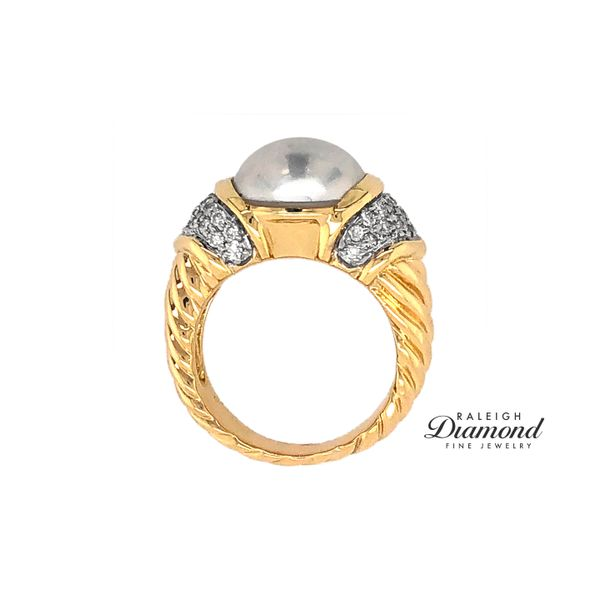 David Yurman Pearl and Diamond Ring in 18k Yellow Gold Image 3 Raleigh Diamond Raleigh, NC