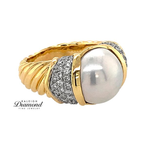 David Yurman Pearl and Diamond Ring in 18k Yellow Gold Raleigh Diamond Raleigh, NC