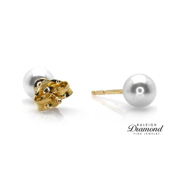 Akoya Pearl 5mm Stud Earrings 14k Yellow Gold by Imperial Pearl Image 2 Raleigh Diamond Raleigh, NC