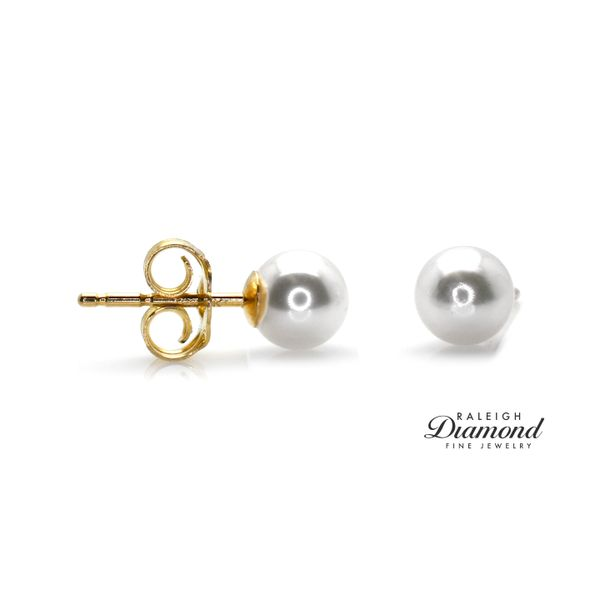 Akoya Pearl 5mm Stud Earrings 14k Yellow Gold by Imperial Pearl Raleigh Diamond Raleigh, NC