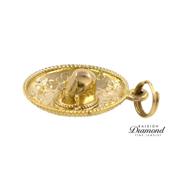 Estate Floral Sombrero Charm 14k Yellow Gold Image 3 Raleigh Diamond Raleigh, NC