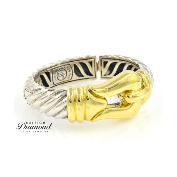 David Yurman Large Buckle Bracelet 18k Yellow Gold And Sterling Silver Image 3 Raleigh Diamond Raleigh, NC