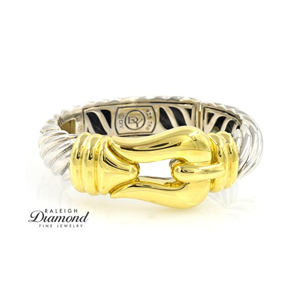 David Yurman Large Buckle Bracelet 18k Yellow Gold And Sterling Silver Raleigh Diamond Raleigh, NC