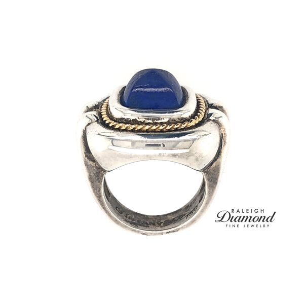 Tiffany and Co. Lapis Ring in Silver with 18k Yellow Gold Image 3 Raleigh Diamond Raleigh, NC