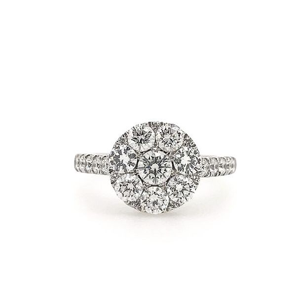 14k White Gold 1.35ctw Round Diamond Cluster Engagement Ring Robert Irwin Jewelers Memphis, TN