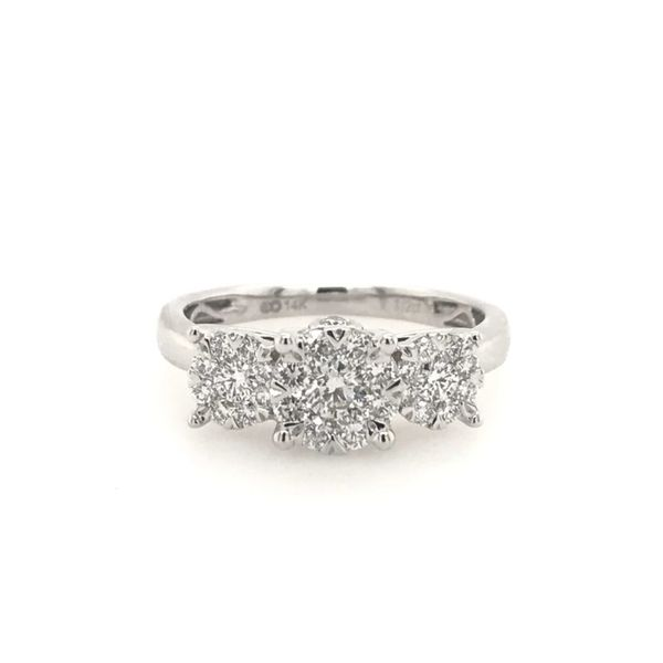 14k White Gold 1/2ctw Past Present and Future Diamond Engagement Ring Robert Irwin Jewelers Memphis, TN