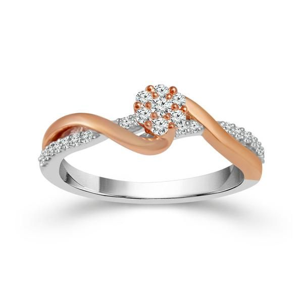 10k Rose Gold and Sterling Silver 0.25ctw Round Diamond Promise Ring Robert Irwin Jewelers Memphis, TN
