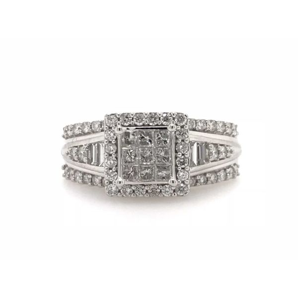10k White Gold 1.00ctw Princess Cut, Round, and Baguette Diamond Halo Engagement Ring Robert Irwin Jewelers Memphis, TN