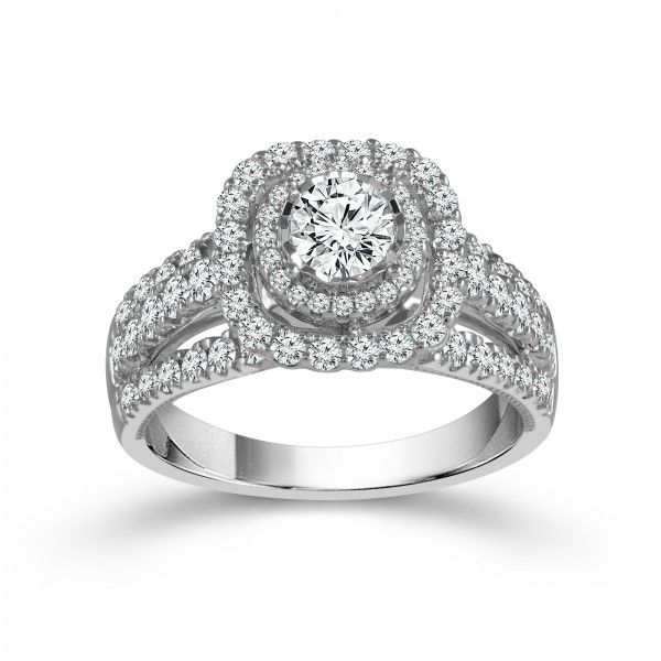 14k White Gold 1.38ctw Double Halo Diamond Engagement Ring Robert Irwin Jewelers Memphis, TN
