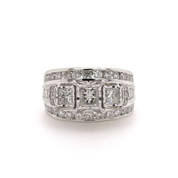 14k White Gold 2.00ctw 3 Stone Diamond Engagement Ring With 0.75ctw Princess Cut Center Robert Irwin Jewelers Memphis, TN