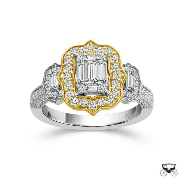 14k Two Tone 1.00ctw Diamond Halo Baguette Engagement Ring Image 2 Robert Irwin Jewelers Memphis, TN