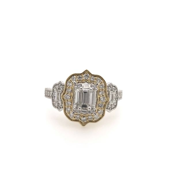 14k Two Tone 1.00ctw Diamond Halo Baguette Engagement Ring Robert Irwin Jewelers Memphis, TN