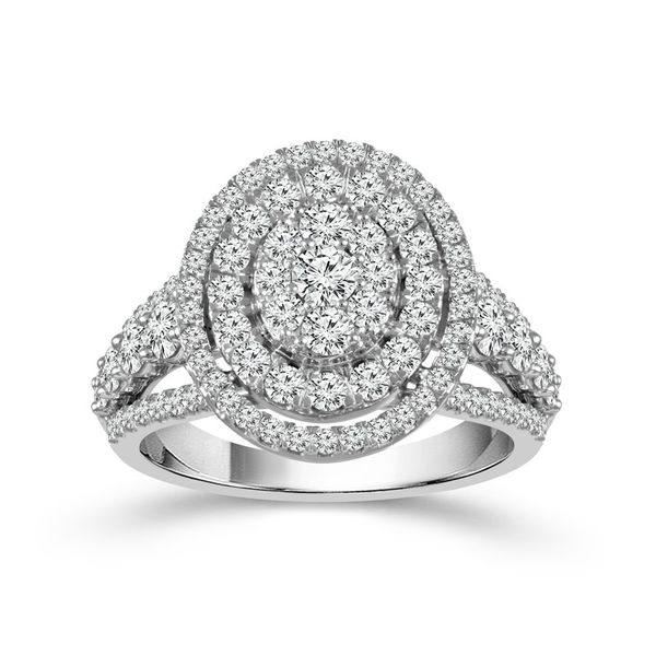 10k White Gold 2.00ctw Diamond Oval Double Halo Cluster Engagement Ring Image 2 Robert Irwin Jewelers Memphis, TN