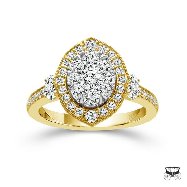 14k Yellow Gold 1.25ctw Diamond Halo Cluster Engagement Ring Image 2 Robert Irwin Jewelers Memphis, TN