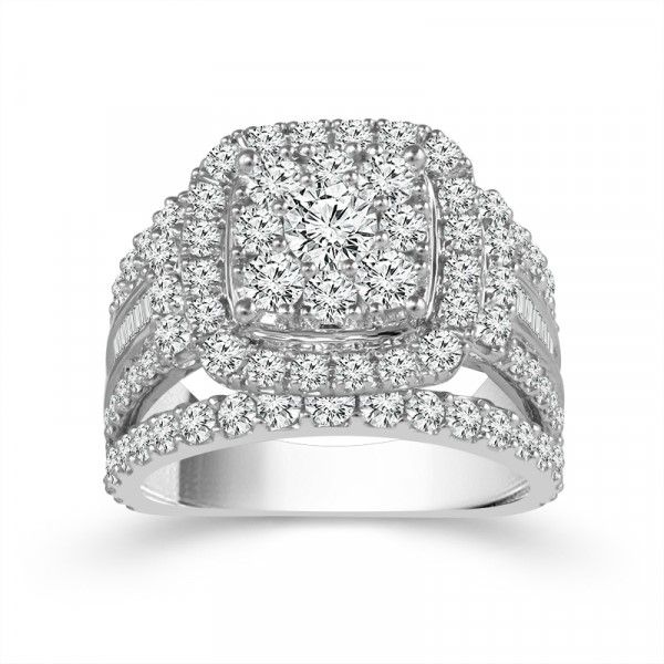 14k White Gold 3ctw Round Diamond Double Halo Cluster Engagement Ring Robert Irwin Jewelers Memphis, TN
