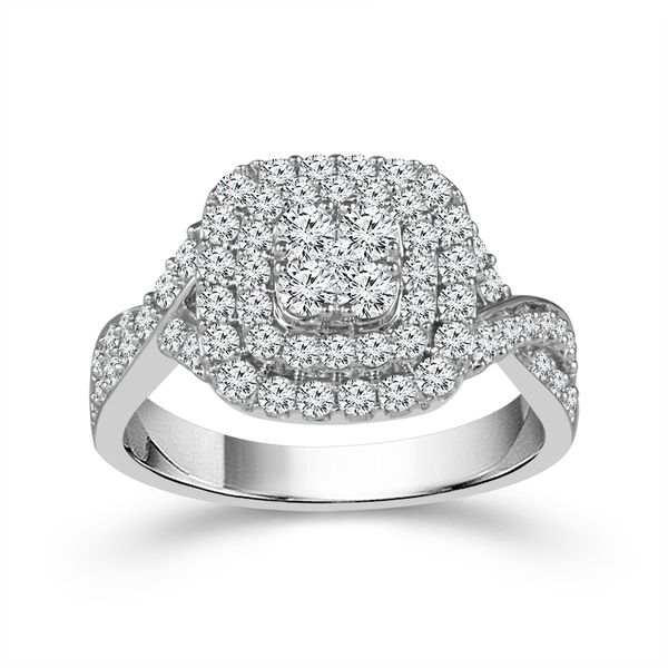 10k White Gold 1.00ctw Double Halo Diamond Cluster Engagement Ring Robert Irwin Jewelers Memphis, TN