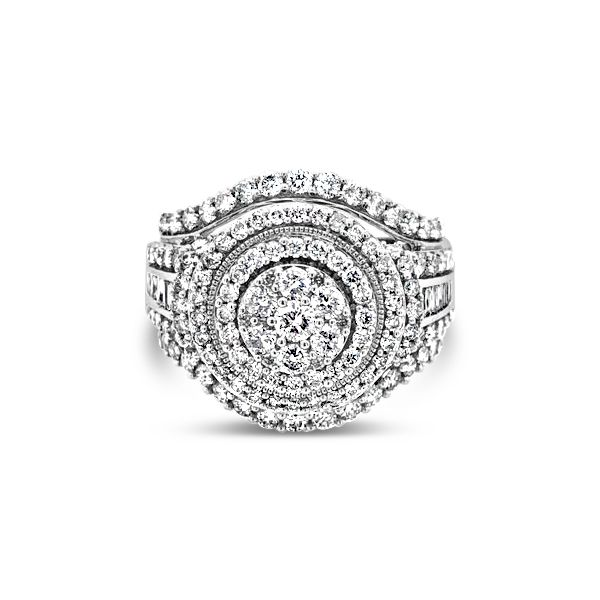 10k White Gold 2.00ctw Diamond Double Halo Cluster Engagement Ring Robert Irwin Jewelers Memphis, TN