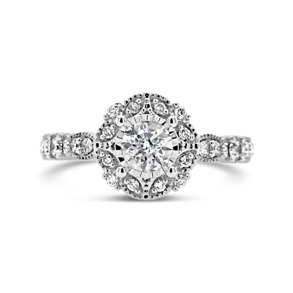 14k White Gold 0.65ctw Diamond Engagement Ring With 0.32ct Round Center Robert Irwin Jewelers Memphis, TN