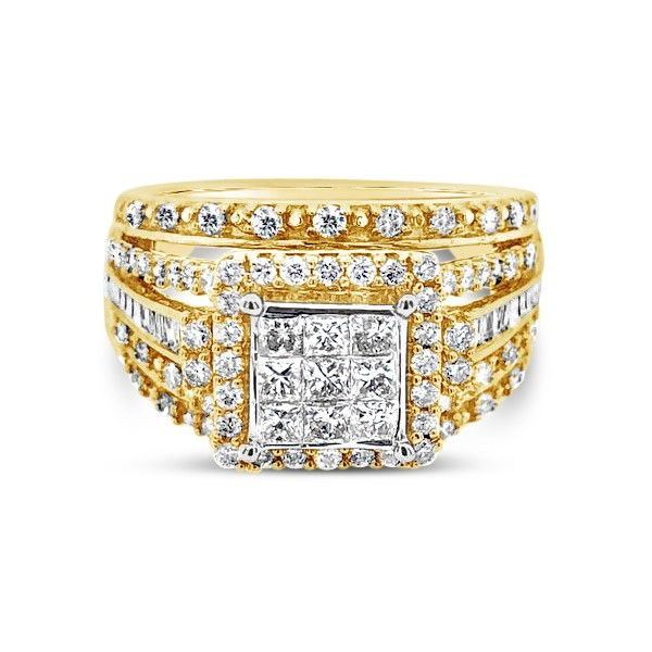10k Yellow Gold 1.00ctw Square Halo Cluster Engagement Ring Robert Irwin Jewelers Memphis, TN