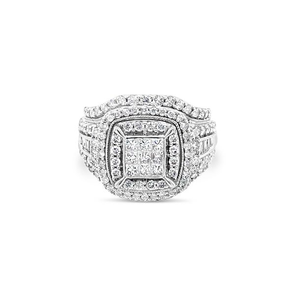 10k White Gold 2.00ctw Double Halo Cluster Engagement Ring Robert Irwin Jewelers Memphis, TN