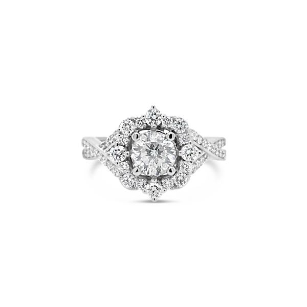 14k White Gold 1.21ctw Diamond Engagement Ring With 0.71ct Round Center Robert Irwin Jewelers Memphis, TN