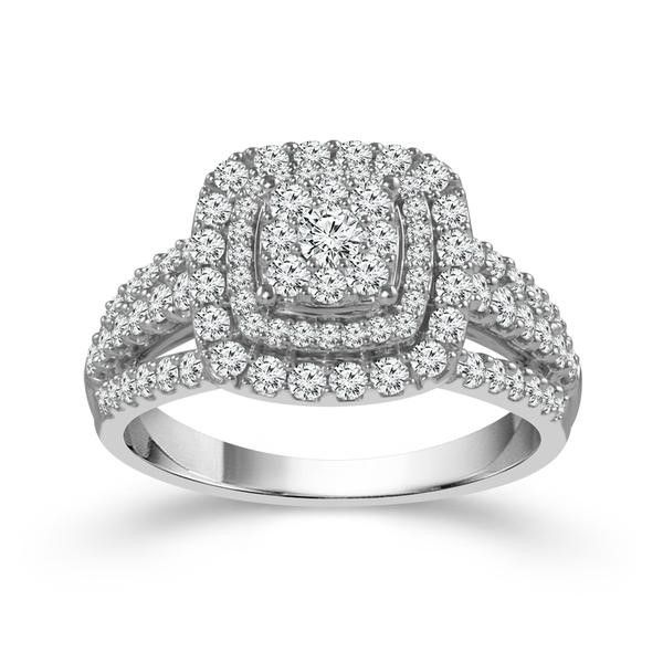 10k White Gold 1.00ctw Diamond Double Halo Cluster Engagement Ring Robert Irwin Jewelers Memphis, TN
