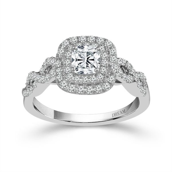 14k White Gold 1.25ctw Double Halo Diamond Engagement Ring With 3/4ct Cushion Center Diamond Robert Irwin Jewelers Memphis, TN