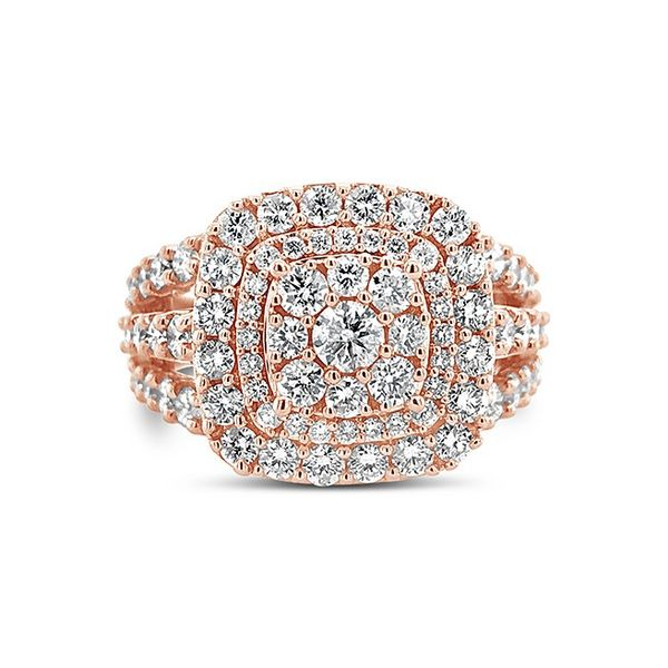 14k Rose Gold 2ctw Double Halo Diamond Cluster Engagement Ring Robert Irwin Jewelers Memphis, TN