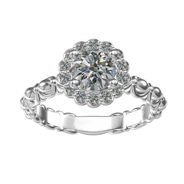 14k White Gold 1.00ctw Round Halo Diamond Engagement Ring Robert Irwin Jewelers Memphis, TN