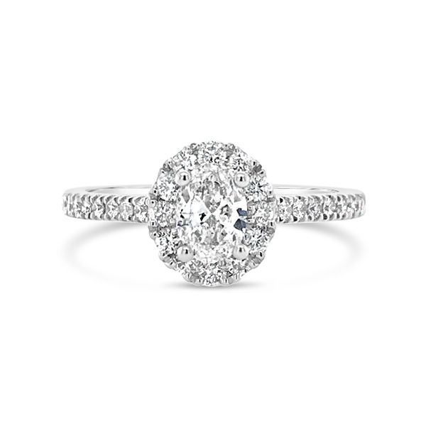 14k White Gold 0.88ctw Oval Engagement Ring with Halo and 0.38ct Center Diamond Robert Irwin Jewelers Memphis, TN
