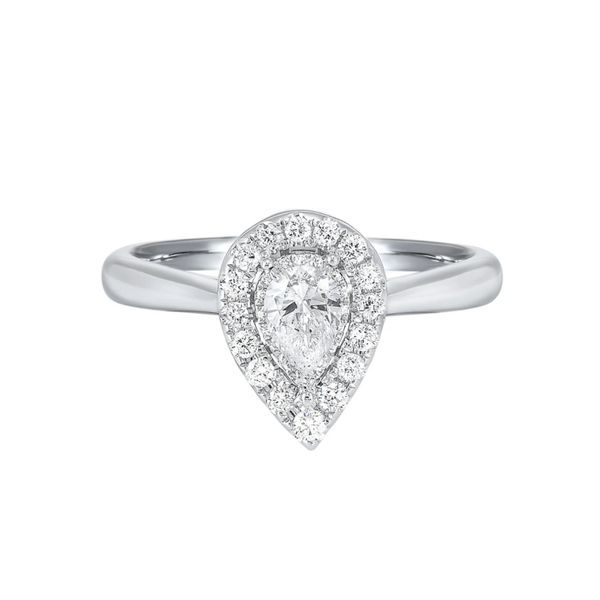 14k White Gold 1/4ctw Diamond Pear Shape Halo Engagement Ring With 0.10ct Pear Shape Diamond Center Robert Irwin Jewelers Memphis, TN