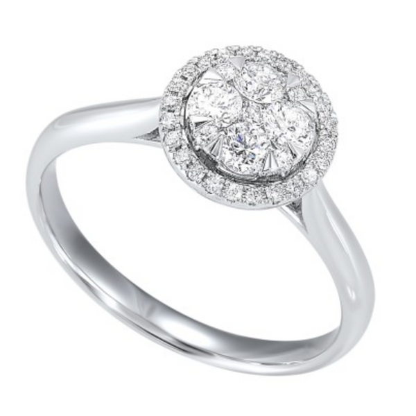 14k White Gold 1/2ctw Diamond Halo Cluster Engagement Ring Robert Irwin Jewelers Memphis, TN