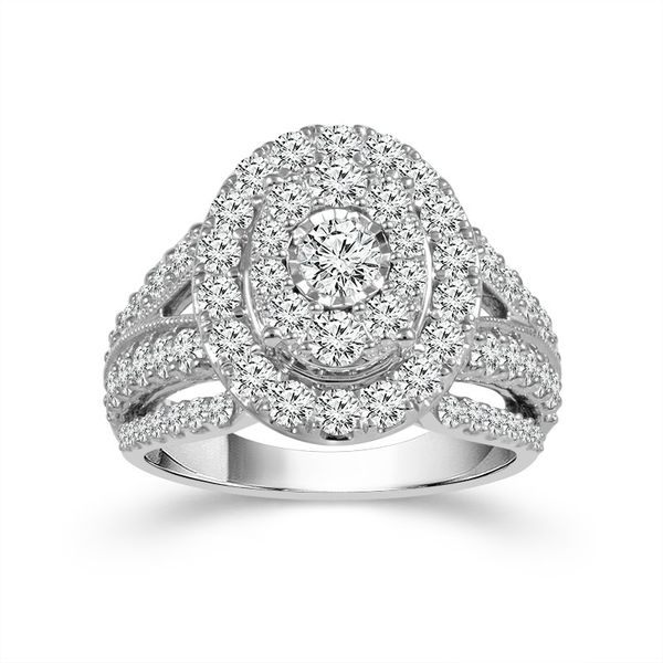 10k White Gold 1.00ctw Diamond Oval Halo Cluster Engagement Ring Robert Irwin Jewelers Memphis, TN