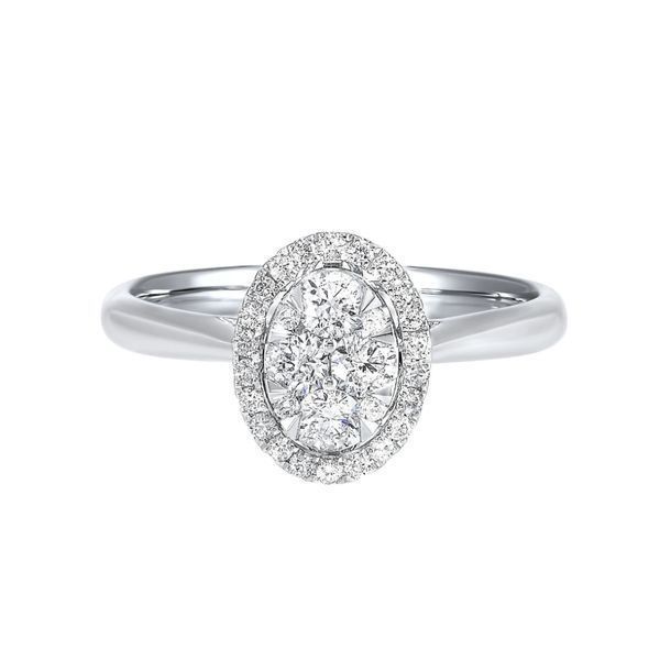 14k White Gold 1/3ctw Diamond Oval Halo Cluster Engagement Ring Robert Irwin Jewelers Memphis, TN