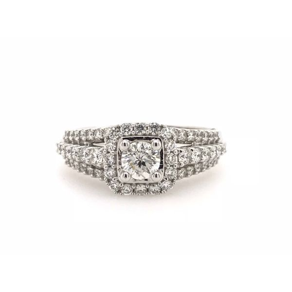 14k White Gold 1.00ctw Engagement Ring with 0.35ct Round Center Robert Irwin Jewelers Memphis, TN