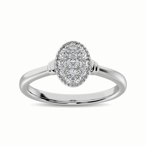 10k White Gold 0.20ctw Oval Cluster Diamond Engagement Ring Robert Irwin Jewelers Memphis, TN