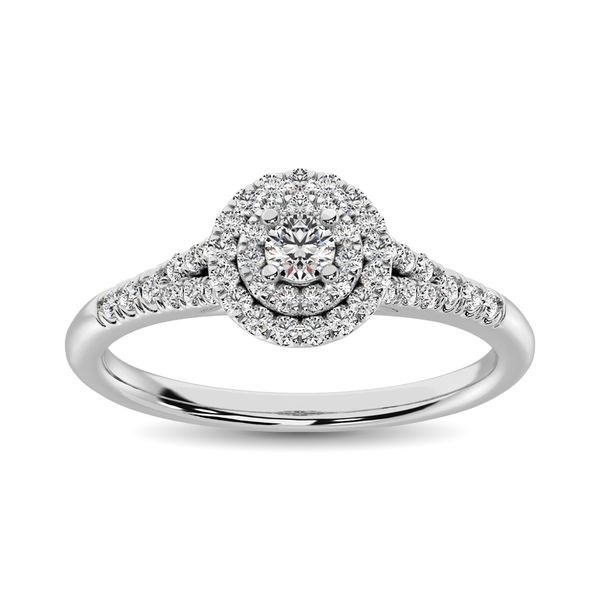 10k White Gold 0.33ctw Diamond Double Halo Engagement Ring Robert Irwin Jewelers Memphis, TN