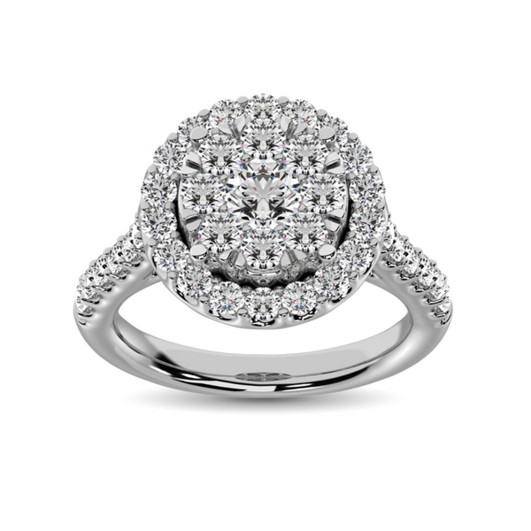 14k White Gold 1/2ctw Invisible Diamond Halo Cluster Engagement Ring Robert Irwin Jewelers Memphis, TN