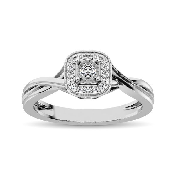 10k White Gold 0.16ctw Diamond Halo Engagement Ring Robert Irwin Jewelers Memphis, TN