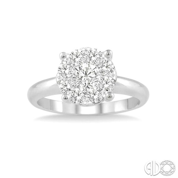 14k White Gold 3/4ctw Diamond Cluster Engagement Ring Robert Irwin Jewelers Memphis, TN