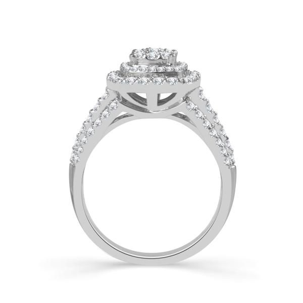 10k White Gold 1ctw Double Halo Diamond Engagement Ring Image 2 Robert Irwin Jewelers Memphis, TN