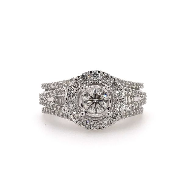 10k White Gold Endless Sparkle 1.25ctw Diamond Halo Engagement Ring With .40ctw Center Robert Irwin Jewelers Memphis, TN