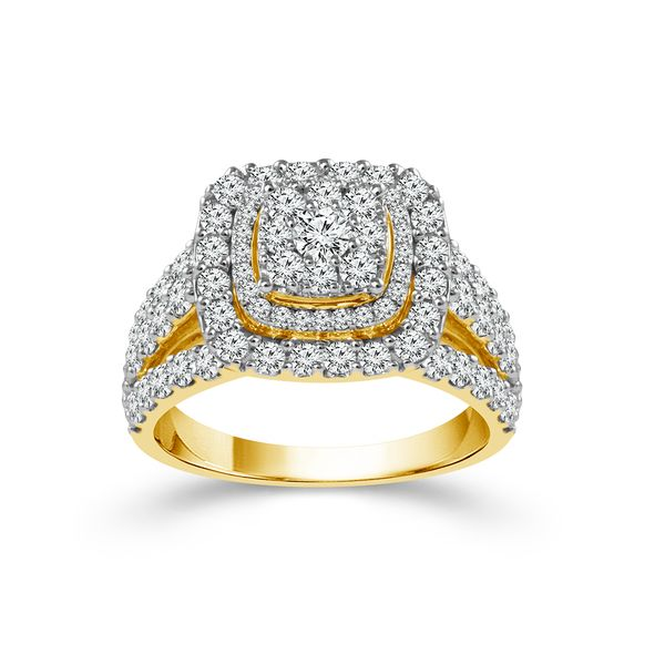 10k Yellow Gold 2.00ctw Diamond Double Halo Engagement Ring Robert Irwin Jewelers Memphis, TN