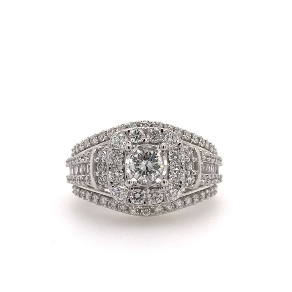 10k White Gold 1.50ctw Diamond Square Halo Engagement Ring with 0.33ctw Round Center Robert Irwin Jewelers Memphis, TN