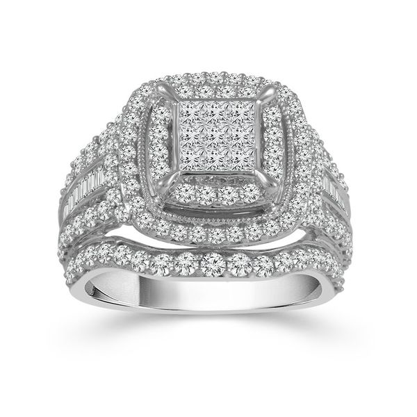 10k White Gold 2.00ctw Diamond Square Halo Cluster Engagement Ring Robert Irwin Jewelers Memphis, TN